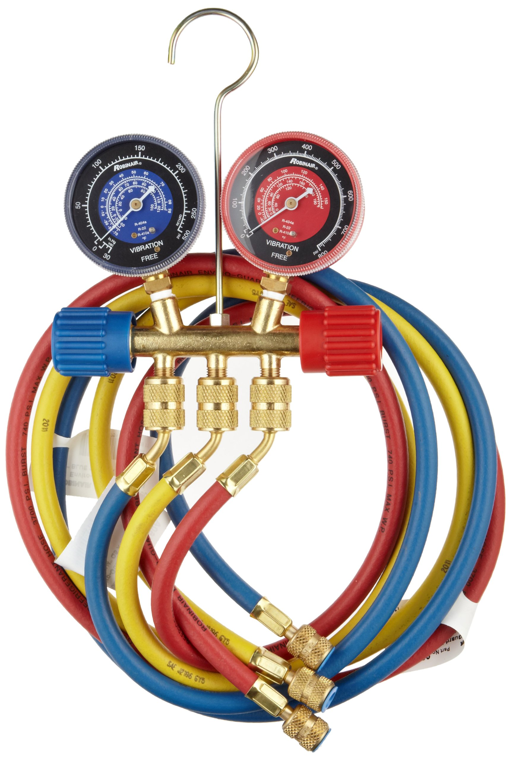 Robinair 40174 Two Way Brass Manifold with 60'' RYB Hoses, For R22/404A/410A Refrigerant