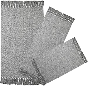 """Cotton Woven Area Rug Set of 3pcs, HiiARug Throw Rugs Runner Doormat with Fringe Tassels Machine Washable for Entryway, Bedroom, Living Room, Kids Room(3'x5'+2'x4'4""""+2'x3')"""
