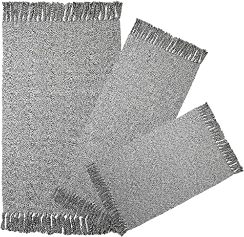 Cotton Woven Area Rug Set of 3pc