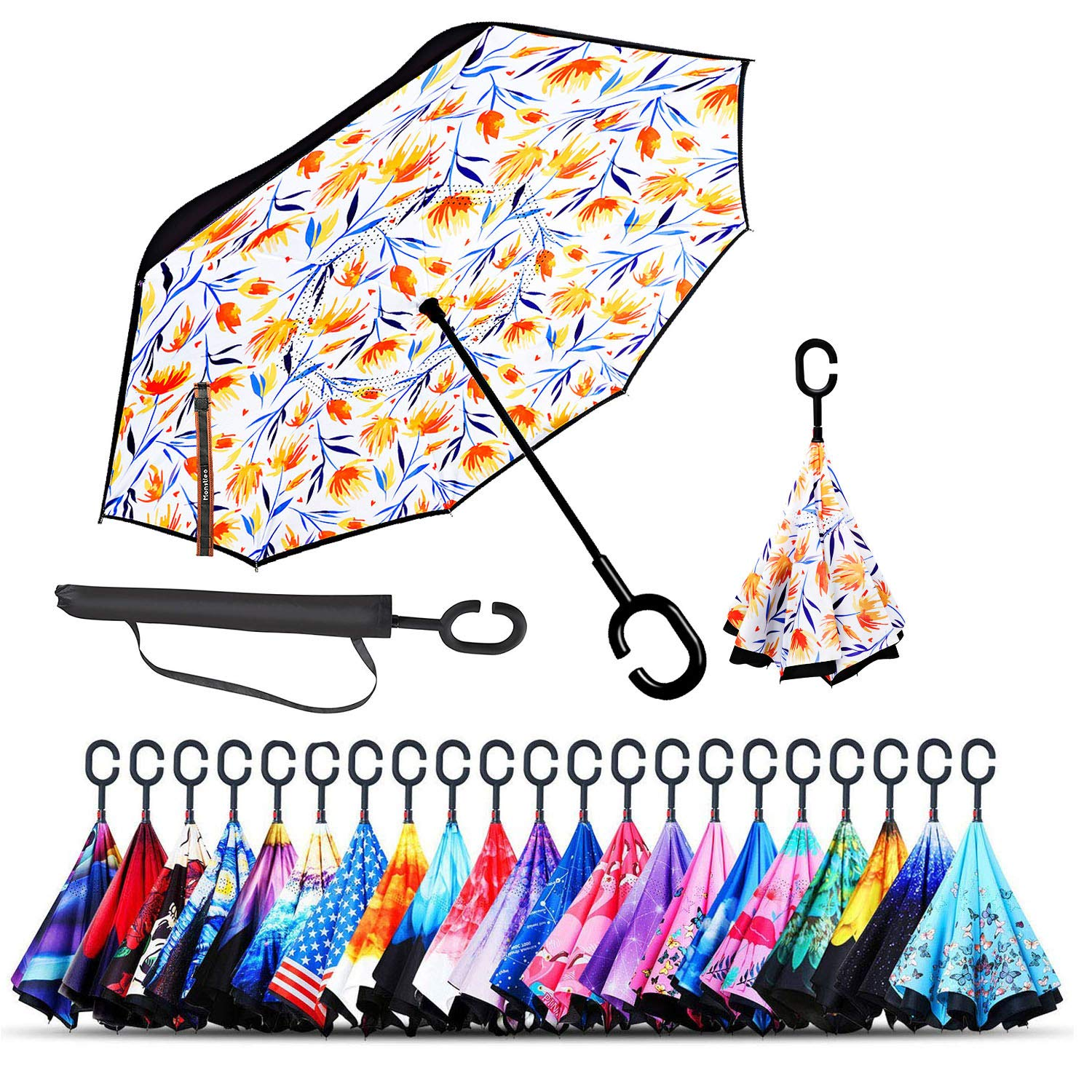 Monstleo Inverted Umbrella,Double Layer Reverse Umbrella for Car and Outdoor Use by, Windproof UV Protection Big Straight Umbrella with C-Shaped Handle and Carrying Bag (Blue Daisy)