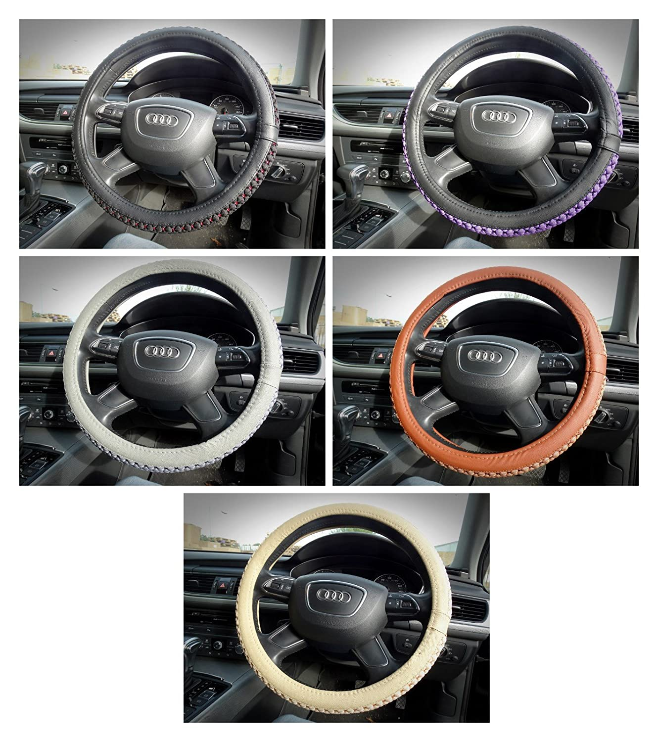 Innova/® Soft Leather Car UNIVERSAL Steering Wheel Cover Colourful Cross Stitching Purple
