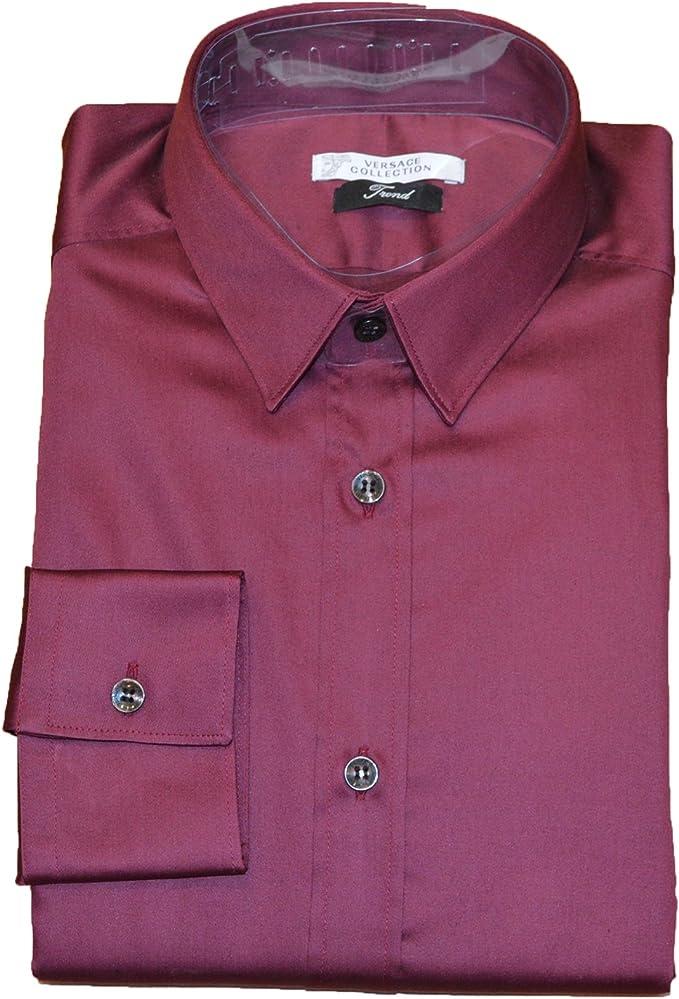 Versace Collection - Camisa de vestir - Básico - Clásico - para hombre Rojo burdeos 41 cm: Amazon.es: Ropa y accesorios