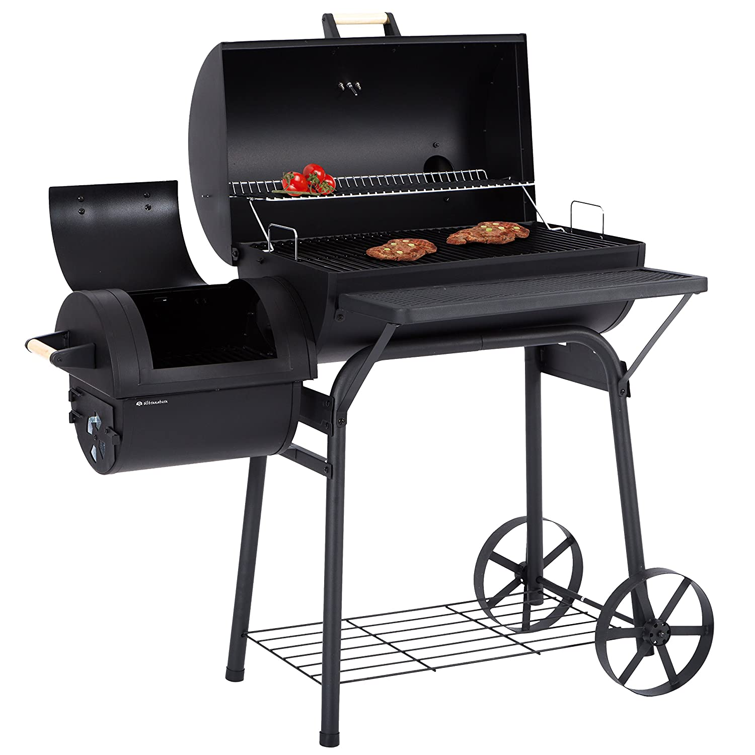 Ultranatura Smoker Grill Denver with two Combustion Chambers, Professional Style Charcoal Barrel Smoker Grill on Wheels for Outdoor Cooking 200100000037