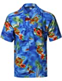 Youstar Casual Hawaiian Tropical Print Button Down Short Sleeves Chest Pocket Shirt