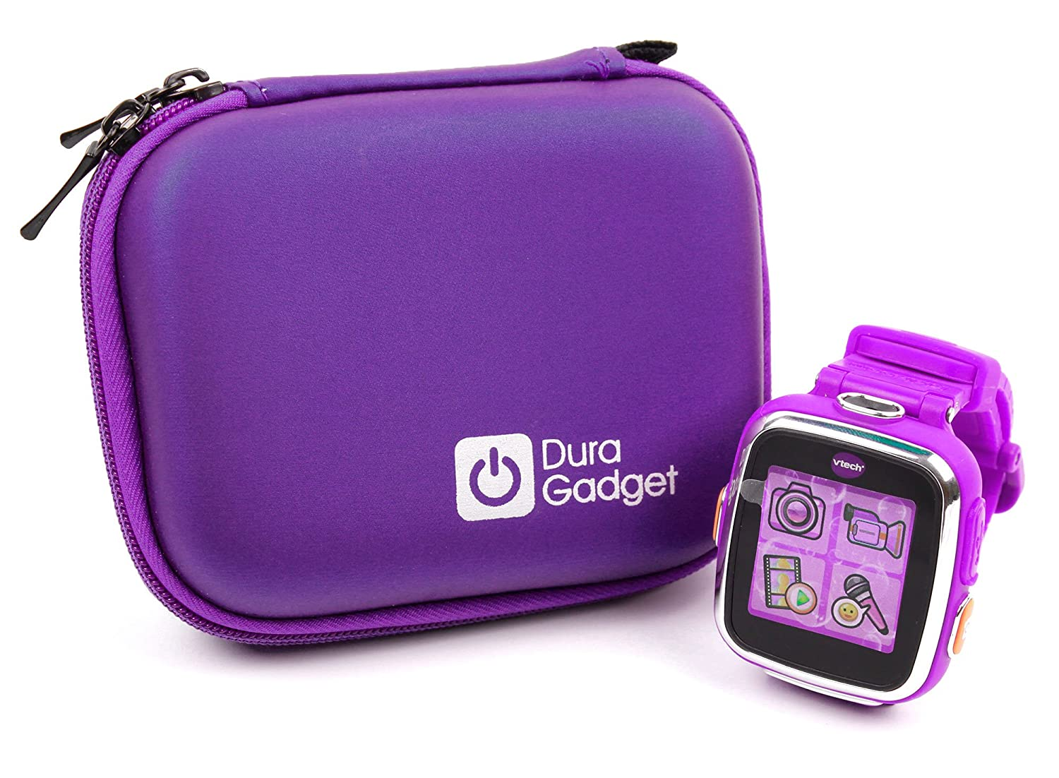 Kidizoom Smartwatch Case - Premium Quality Shock Absorbent Purple Shell Case with Carabiner Clip & Dual Zip Function for Kidizoom Smartwatch DX2 | DX ...