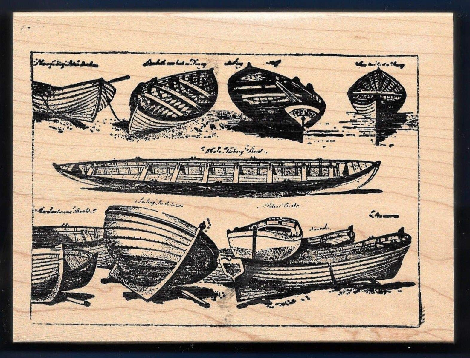Rubber Stamp Frames X-Large Row Boats Oar Collage Frame Lake Scene Beach Travel Love to Stamp Rubber by OutletBestSelling