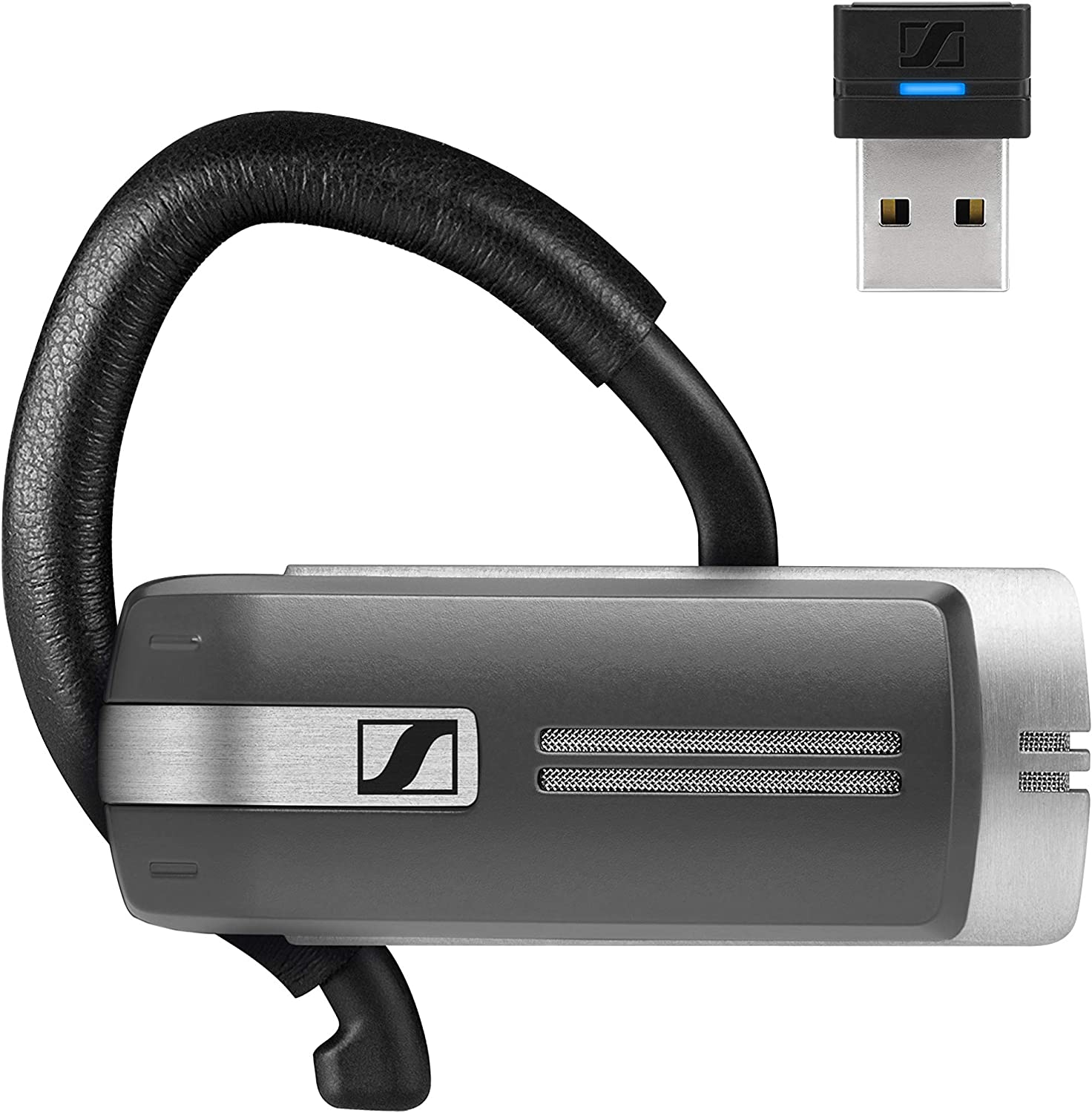 Amazon Com Sennheiser Presence Grey Uc 508342 Dual Connectivity Single Sided Bluetooth Headset For Mobile Device Softphone Pc Connection With Carrying Case And Usb Dongle Black Computers Accessories