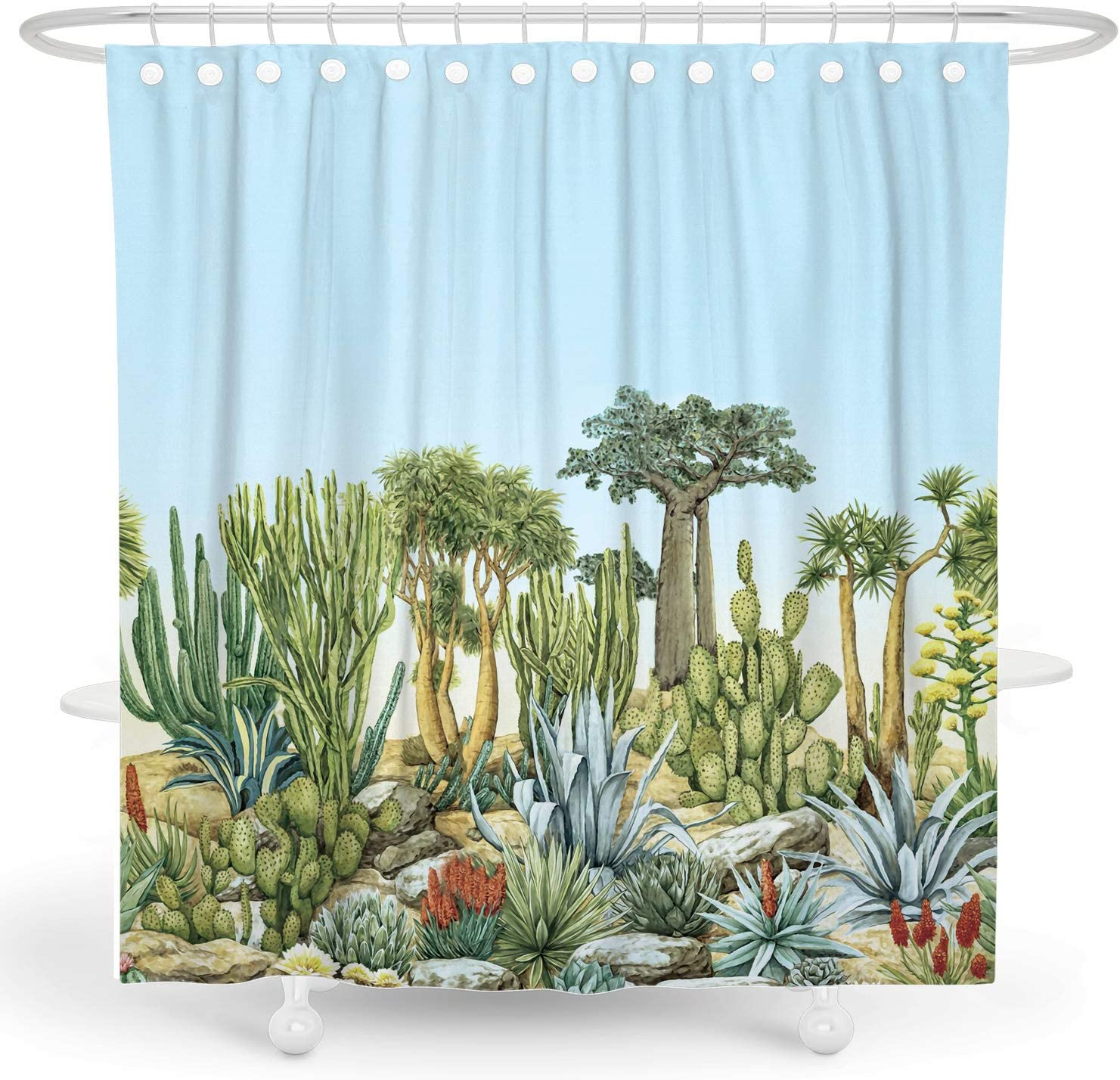 DESIHOM Cactus Shower Curtain 72x72 Inch Plant Shower Curtain Succulent Shower Curtain Leaf Botanical Shower Curtain Fall Shower Curtain Garden Desert Polyester Waterproof Shower Curtain