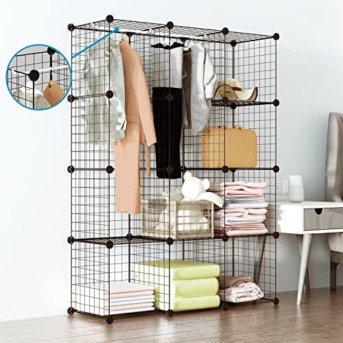 Tespo Wire Cube Storage Shelves Book Shelf Metal Bookcase Shelving Closet Organization System DIY Modular Grid Cabinet 12 Cubes