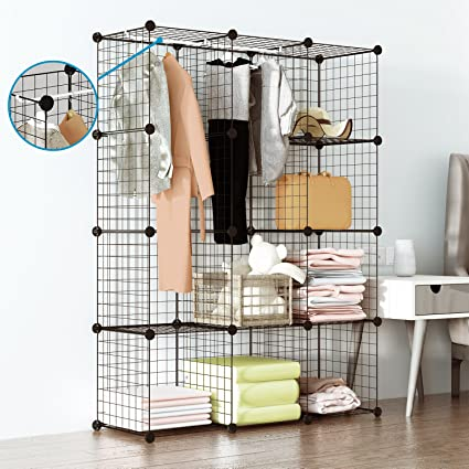Tespo Wire Cube Storage Shelves Book Shelf Metal Bookcase Shelving Closet  Organization System DIY Modular Grid