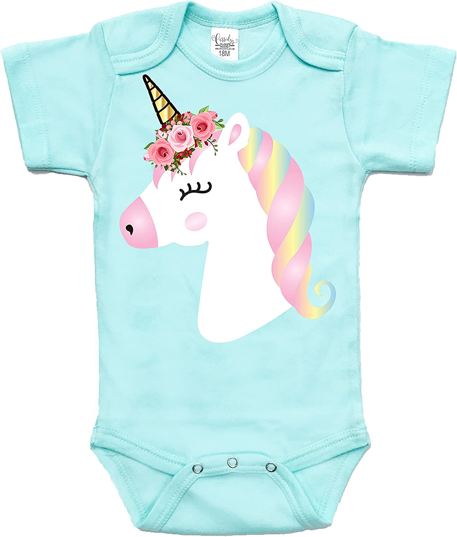 Unicorn Love Baby Bodysuit Short Sleeve Unicorn Gifts for Baby Girls Gifts