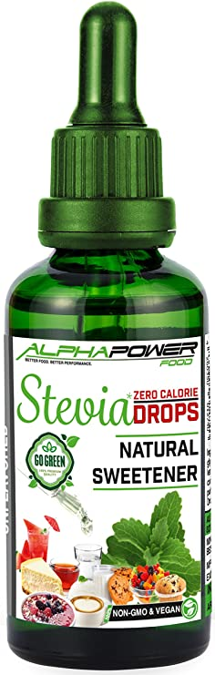 ALPHAPOWER FOOD - Stevia liquida pura 50ml, Stevia Gotas de natural - vegano y no OGM, extracto líquido puro, Edulcorante natural, sustituto del ...