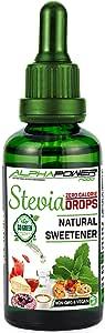 ALPHAPOWER FOOD - Stevia liquida pura 100ml, Stevia Gotas de natural - vegano y no OGM, extracto líquido puro, Edulcorante natural, sustituto del azúcar - sin azúcar, sin calorías, sin gusto