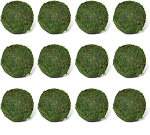 "Vumdua Moss Ball, Natural Decorative Green Globes with Handmade, Hanging Balls Vase Bowl Filler for Home Party &Weddings Display Decor Props (2.1""-Set of 12)"