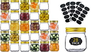TANGLONG 8 oz Glass Jars With Lids,28 pack, Mason Jars For Storage,Canning Jars For Caviar,Herb,Jelly,Jams,Honey,Dishware Safe, with 30 labels