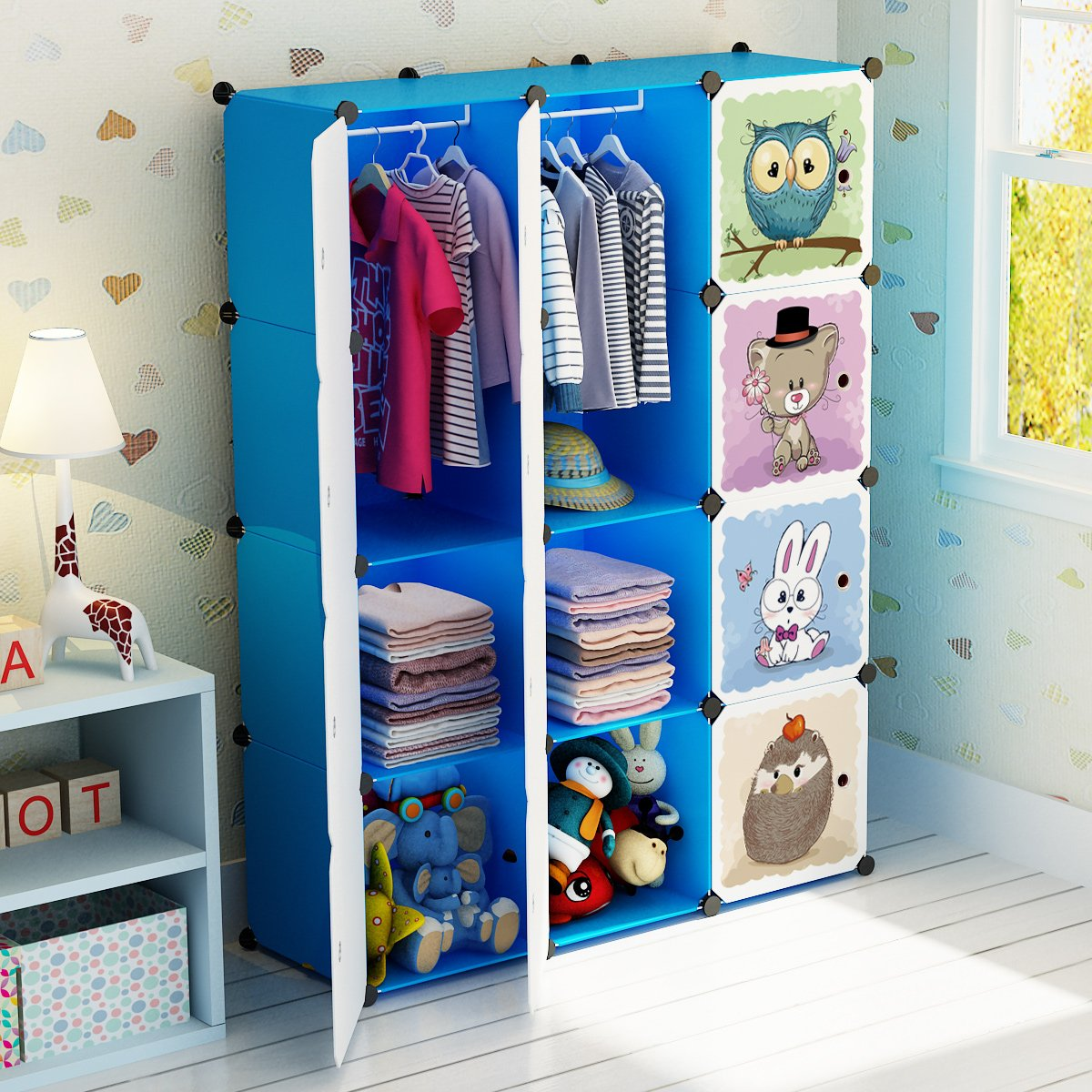 MAGINELS Portable Kid Organizers and Storage Organizer Clothes Wardrobe Cube Closet MultiFuncation Bedroom Armoire Children Dresser Rack Blue Forest Animal 6 Cube &1 Hanging Section