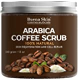 Arabica Coffee Scrub by Buena Skin | Organic Coffee, Coconut and Shea Butter, Powerful Remedy For Cellulite, Stretch Marks, Varicose Veins, Eczema and Acne 12 oz
