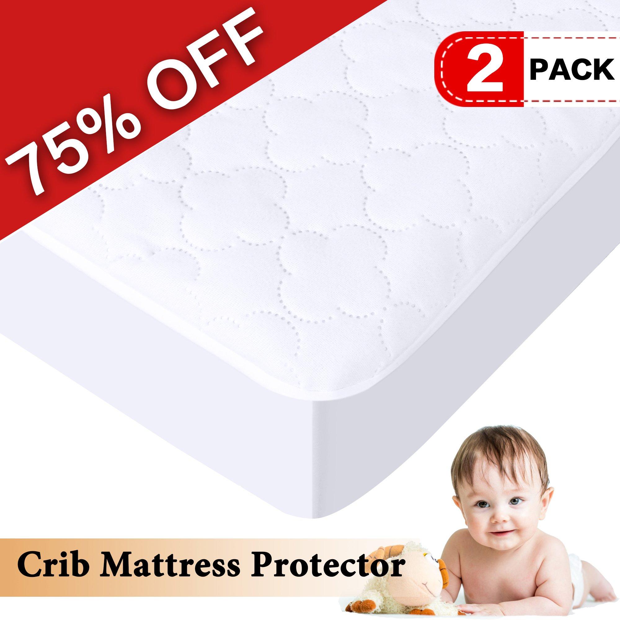 H.VERSAILTEX 100% Waterproof Crib Size Premium Mattress Protector Hypoallergenic, Vinyl Free, Breathable Soft Cotton Terry Surface (52'' x 28'', 2 packs)