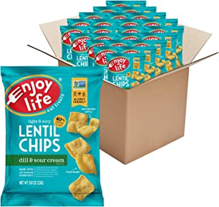 product image for Enjoy Life Dill and Sour Cream Lentil Chips, Dairy Free Chips, Soy Free, Nut Free, Non GMO, Vegan, Gluten Free, 24 - 0.8 oz Bags