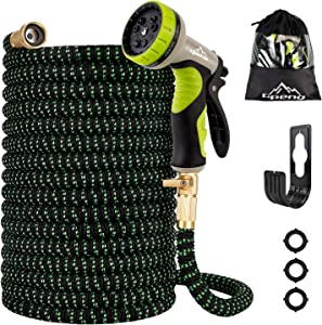 100ft Expandable Garden Hose, Water Hose with 9 Function Spray Nozzle,Flexible Garden Water Hose with Solid Brass Fittings, Superior Strength 3750D Expanding Garden Hoses,Gardening Hose for Watering