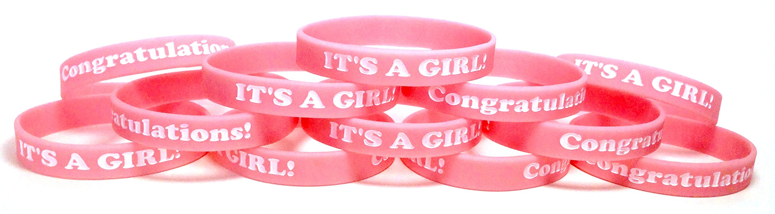 12 Pack ''IT'S A GIRL!'' Wristbands Baby Shower Party Favors Bracelets (IT'S A GIRL! Toddler (6'' 152mm))