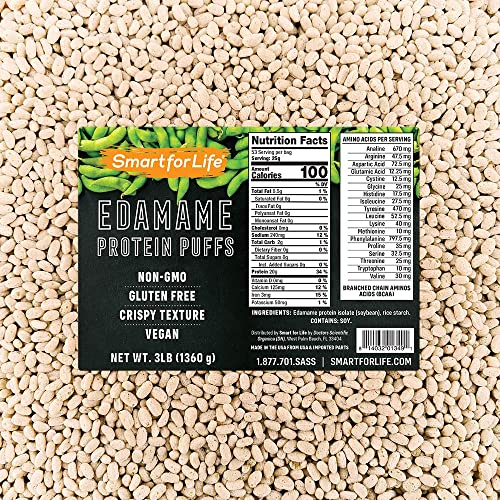 Smart for Life – Soy Protein Puffs from Edamame – High Protein Zero Sugar Soy Protein Isolate Puffs 3LB – 20 Grams Protein Snacks – Non-GMO, Gluten-Free – 3 Pound Box – 53 Serving