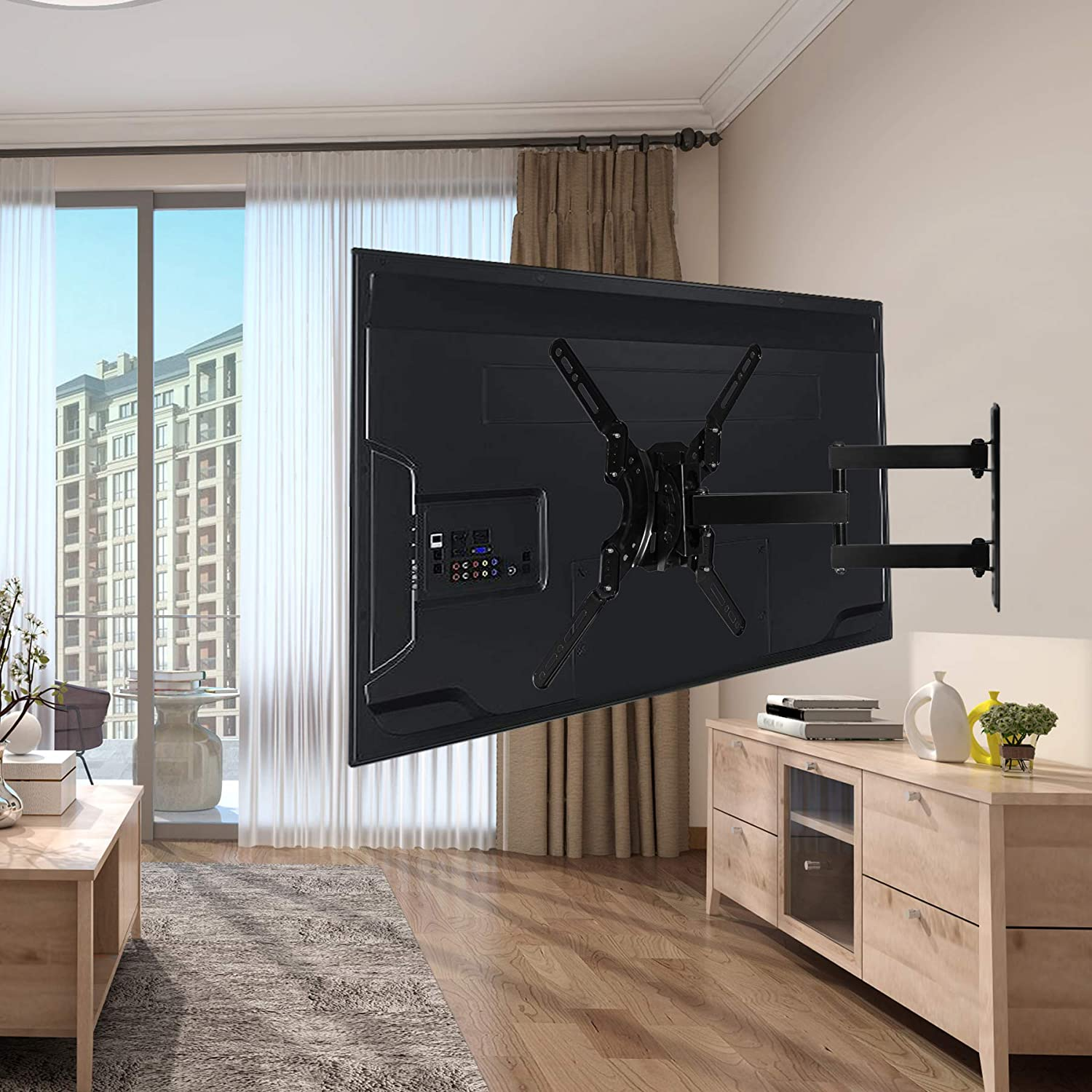 FORGING MOUNT FM9270-B Single Stud TV Wall Mount Bracket Full Motion Articulating Arms for Most 17-50 inch LED,LCD,OLED,Plasma Screen TVs up to 60LBS and VESA 400X400mm-18