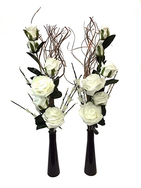 259 & Link Products Set Of 2 Glass Vases With Artificial Flowers \u0026 Grasses White