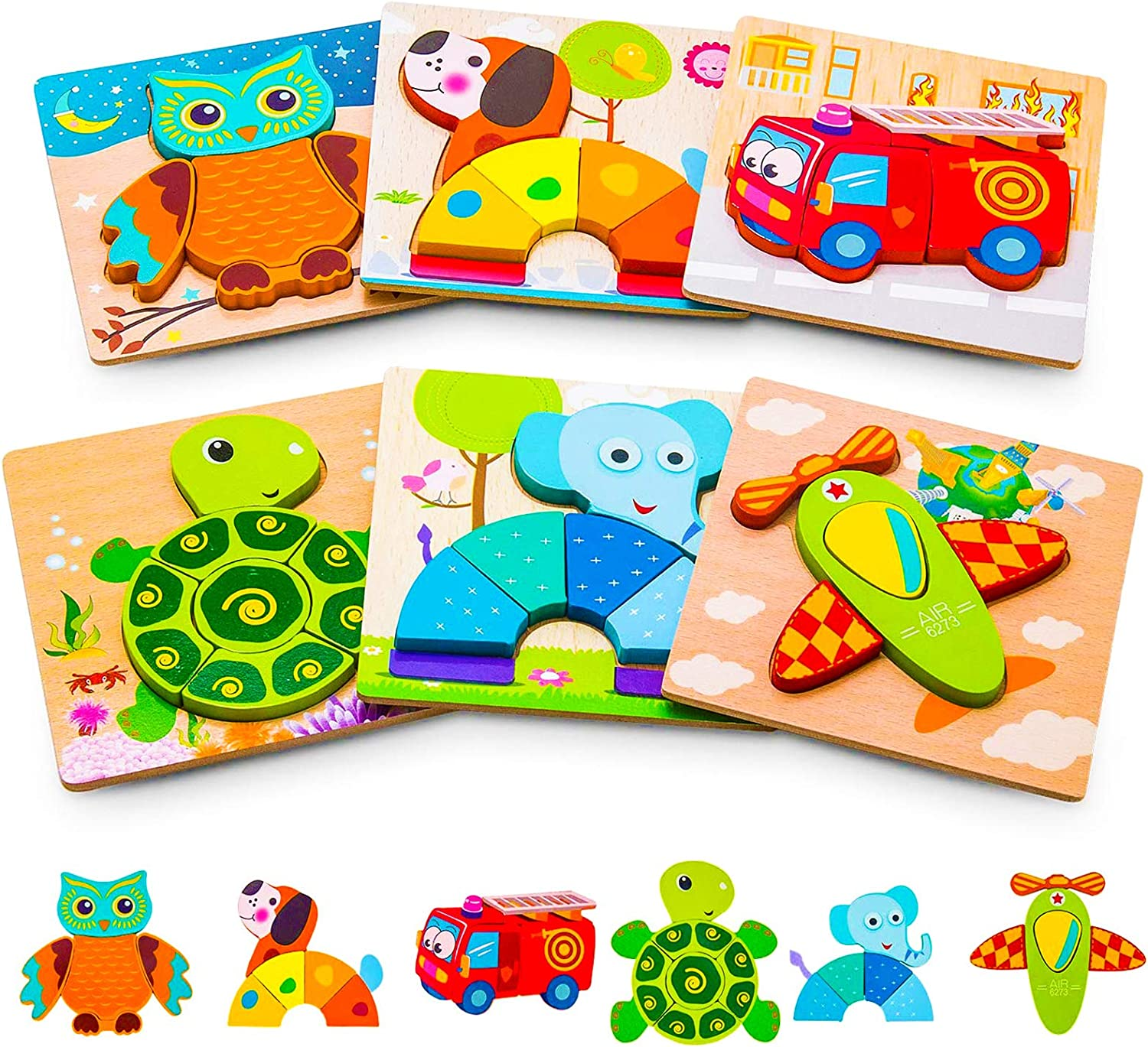 Homgix Wooden Jigsaw Puzzles Gifts Toys for 1 2 3 Year Old Boys and Girls Baby Toddler Infant Kid Learning Educational,5 Packs Animal Vehicle Montessori Stem Travel Toys with Drawstring Storage Bag