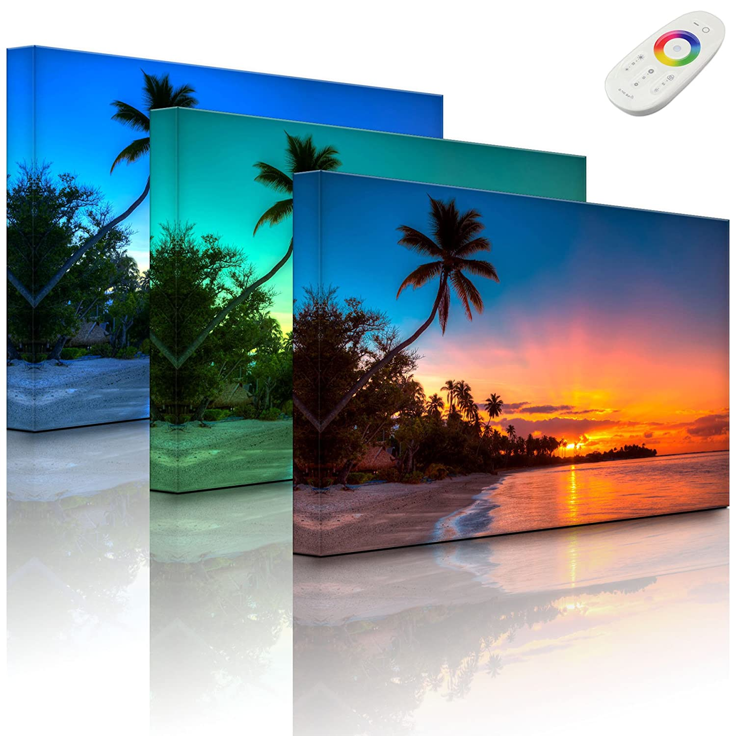 Picture with LED lighting - Palm trees on the beach - 60 x 40 cm - front lighted Rossteutscher GbR
