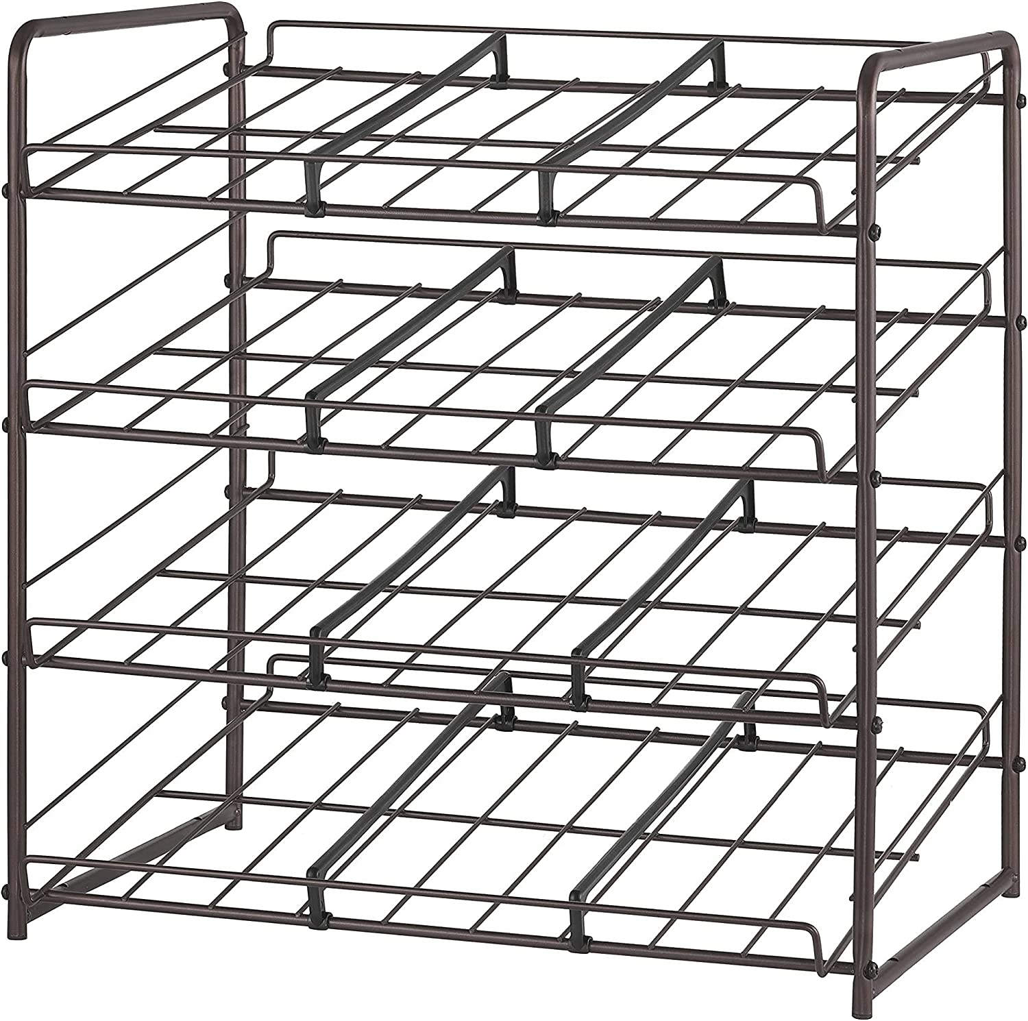 Vontreux Can Rack Organizer, Stackable 4-Tier Can Storage Dispenser for Kitchen Cabinet or Pantry, Bronze