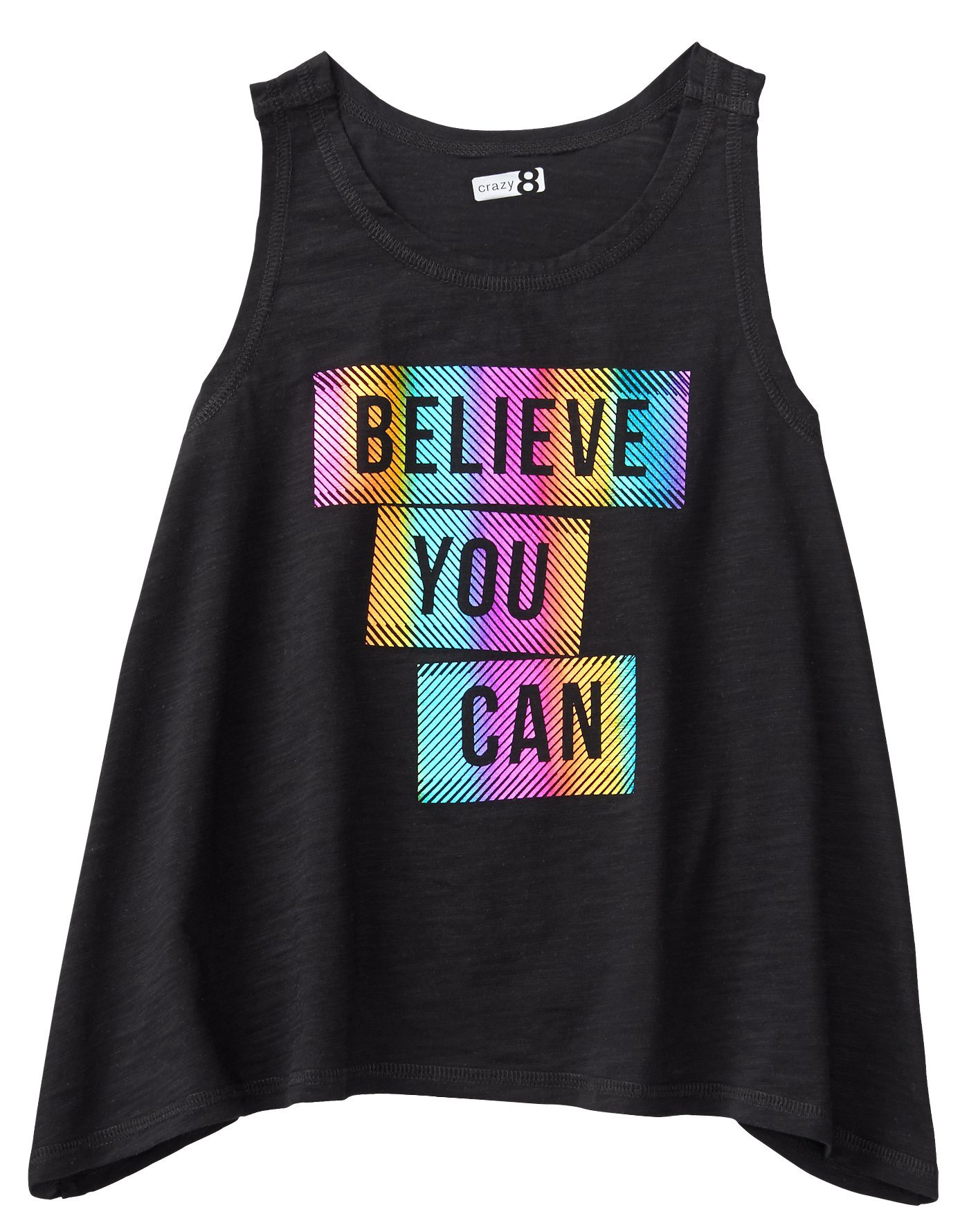 Crazy 8 Little Girls' Active a-Line Tank, Black Believe, M
