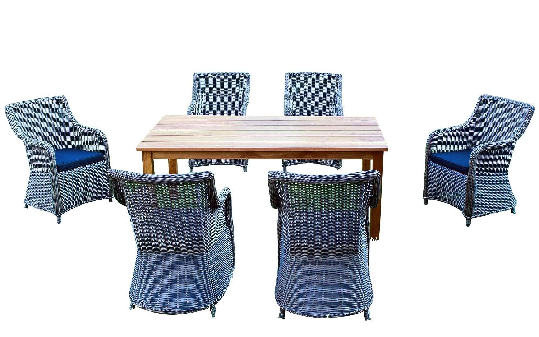 Baidani Gartenmöbel-Sets 10a00015 Designer Rattan Lounge-Set Ambition, 1 Tisch, 6 Stühle, Sitzaufagen, dunkelgrau / grau