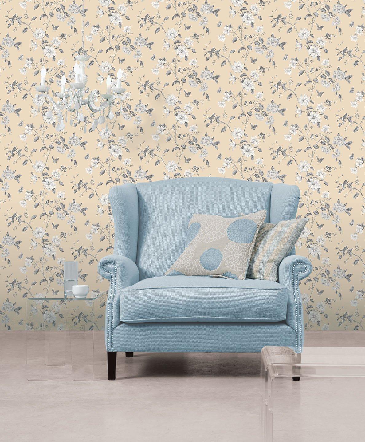 G34305 English Florals Floral Beige /& Grey Galerie Wallpaper