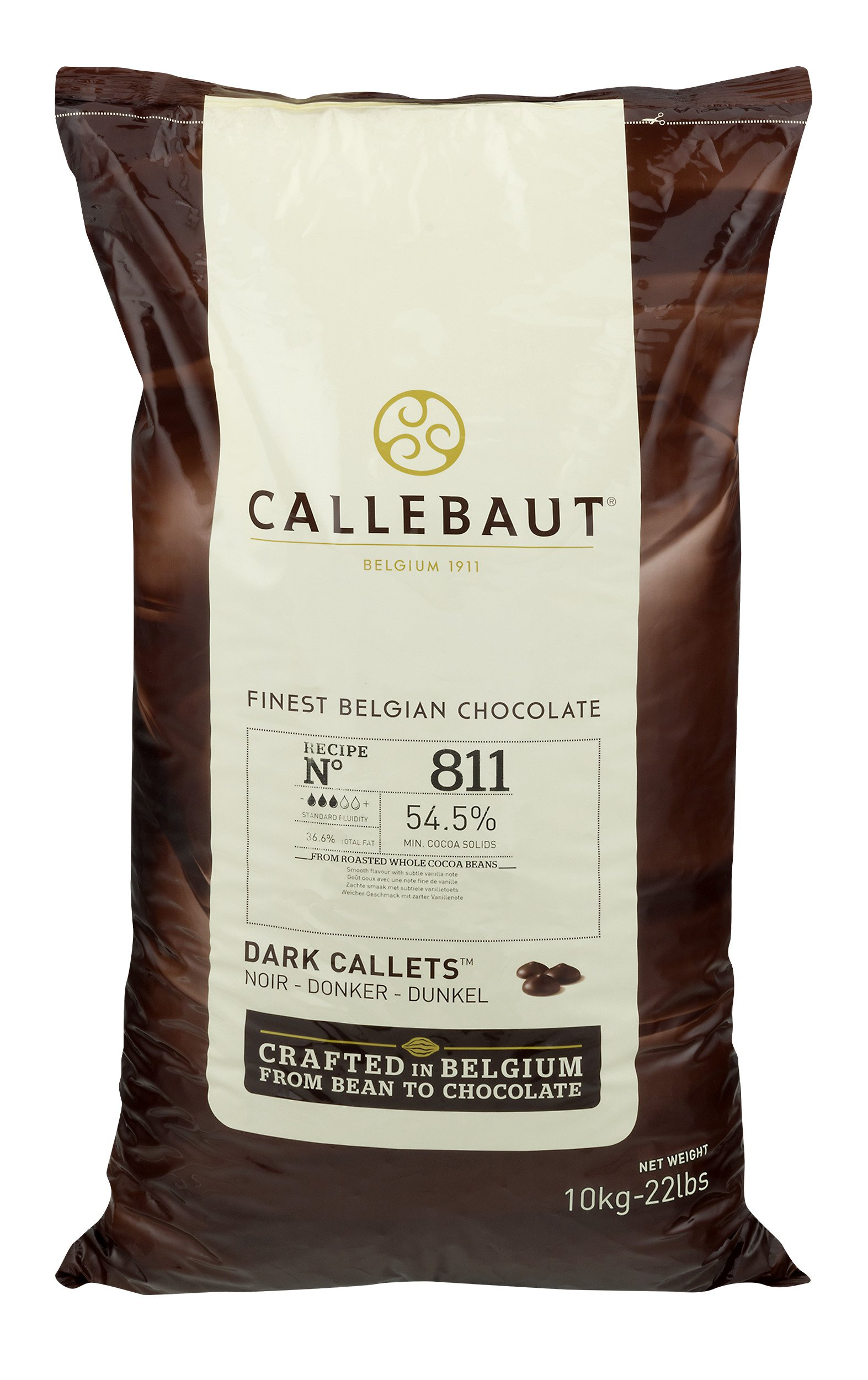 Callebaut Dark Couverture Semi-sweet Chocolate Callets - Belgian Baking Chocolate Callets - Recipe 811NV-595 - Many chef's no. 1-54.5% Cocoa Butter, 19.4% Fat Free Cocoa - 44 Lbs (20Kg) by Callebaut (Image #2)