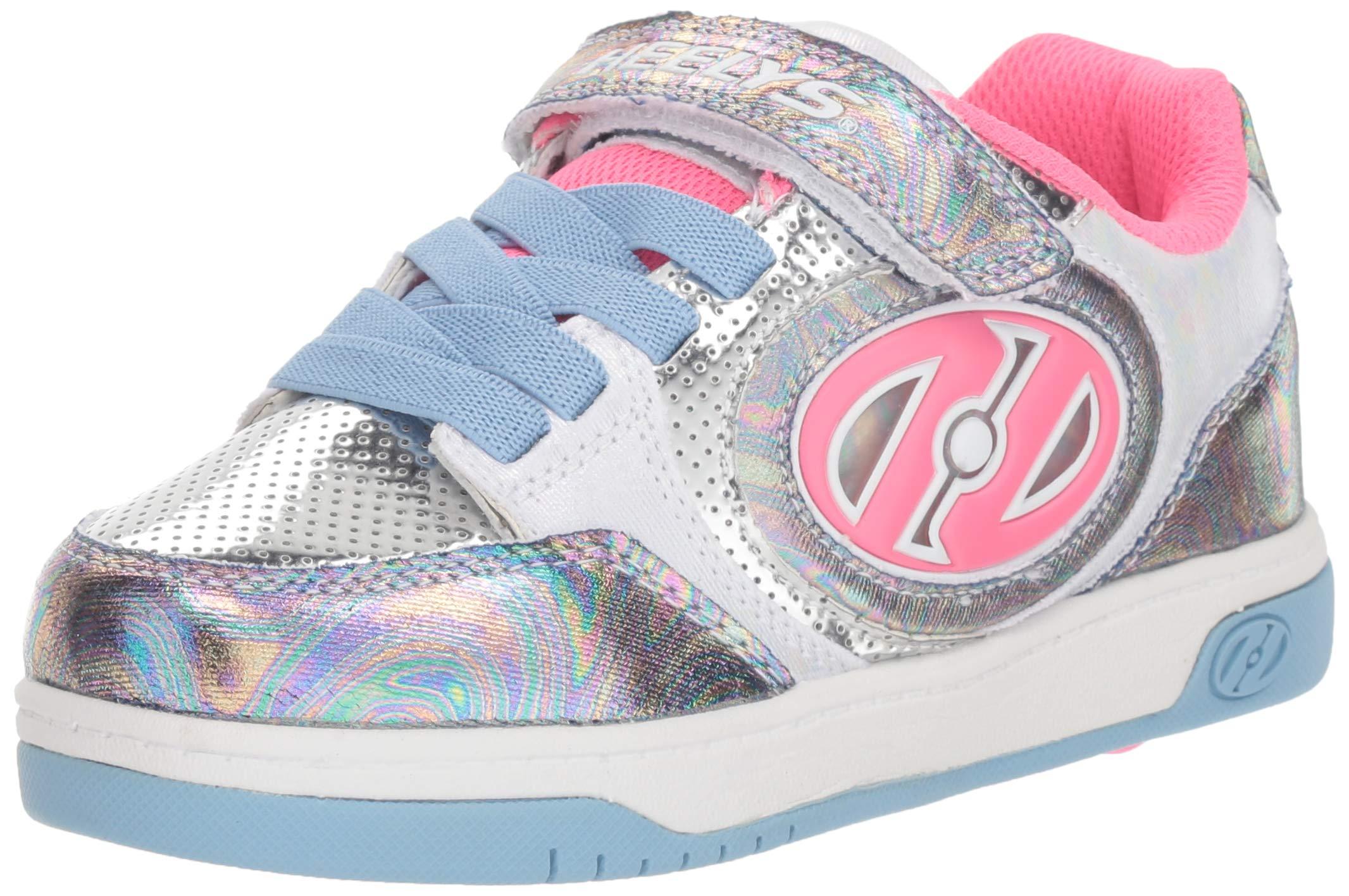 Heelys Kids' Plus X2 Lighted Tennis Shoe, Blue/Hologram/Fuchsia, 2 M US Little Kid