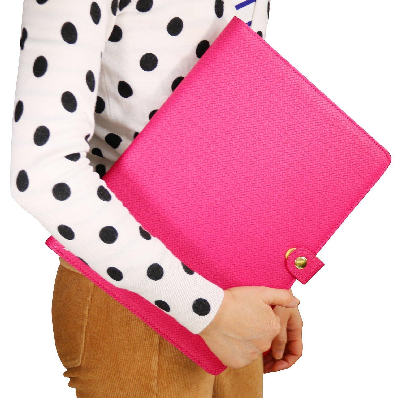 Plinrise Luxury Marble Portfolio File Folder Document Resume Organizer,Padfolio File Holder Folders Letter Size,Clipboard Folder With Writing Pad,Black Marbling … (Rose Red)