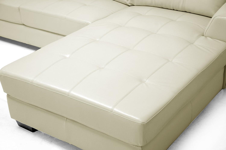 amazoncom baxton studio dobson leather modern sectional sofa black kitchen u0026 dining - Modern Sectionals