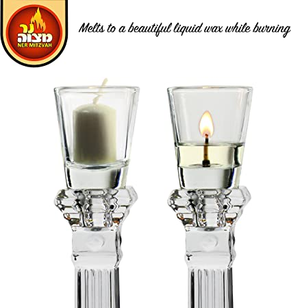 Crystal Looking Elegant Holders for Oil for Shabbat and Hanukkah Long-Lasting 2 Pack -Durable Quality Ner Mitzvah Shabbos Candle Glass Oil Cups