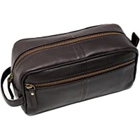 Men's Genuine Leather Toiletry Bag Waterproof Dopp Kit Shaving Bags and Grooming for Travel Groomsmen Gift Men Women Hanging Zippered Makeup Bathroom Cosmetic Pouch Case Make Up kit