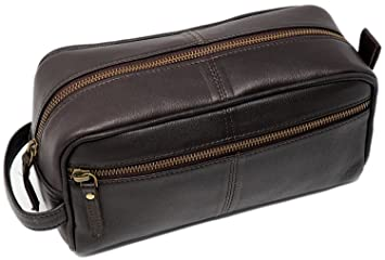 b02f38a26a2 Men s Buffalo Genuine Leather Toiletry Bag waterproof Dopp Kit Shaving bags  and Grooming Kit for Travel