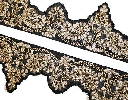 Silver stones cut work Lace Trim Turquoise Ribbon Sewing Craft Sari Border 1Yard