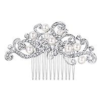 Ever Faith Silver-Tone Austrian Crystal Cream Simulated Pearl Floral Vine Bridal Hair Comb