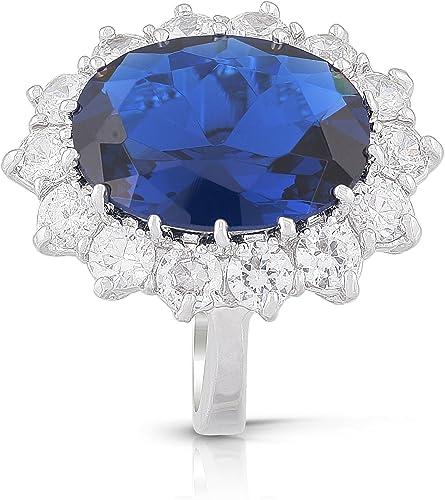 Royal Replica 2.2 Ct Oval Genuine Dark Sapphire Women/'s Wedding Ring