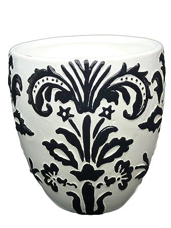 Blumentopf schwarz-weiß gemustert Übertopf Blumenkübel Pflanzen ...