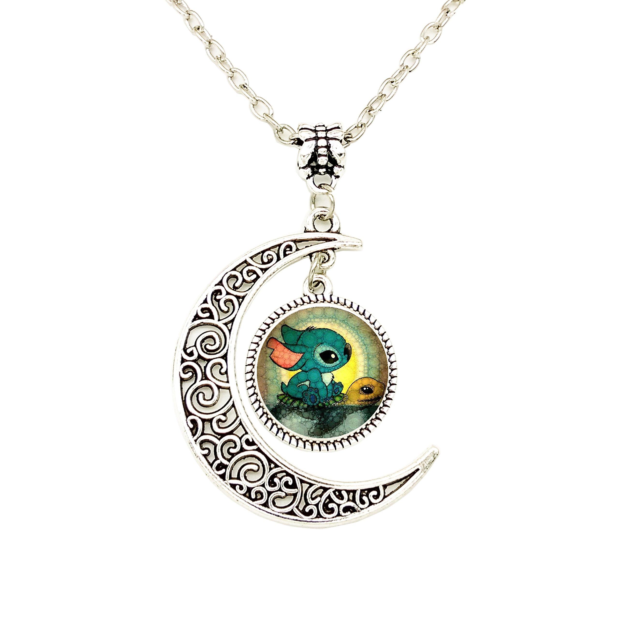 Liumart Handmade Moon Cartoon Pendant Necklace, Cute Crescent Moon Jewelry