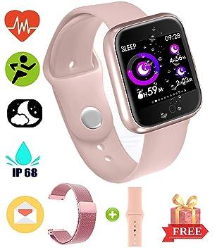 EarnCore Pulsera Inteligente a Prueba de Agua con Bluetooth - Rastreador de Ejercicios para Hombres y Mujeres para Android iOS Teléfonos Inteligentes ...