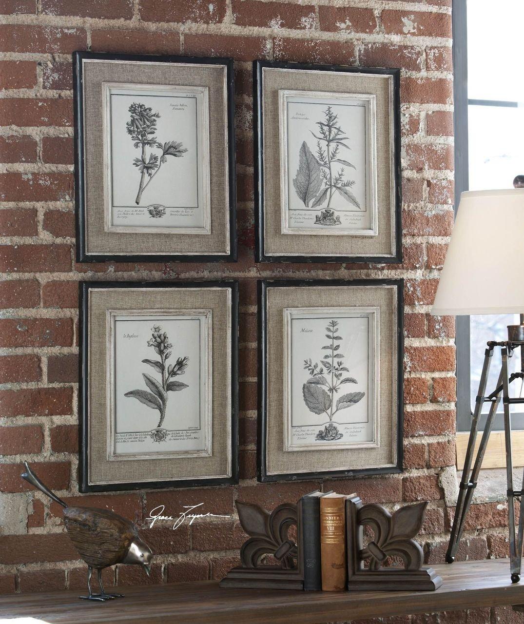 Amazon.com: Antique Style Botanical Wall Art Prints | Grey Flowers ...