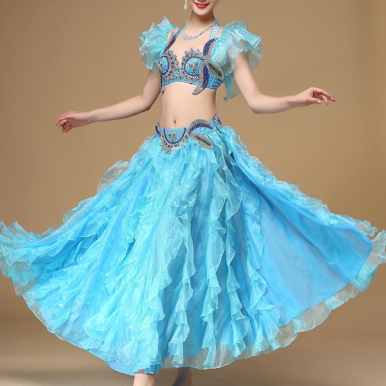 Bleu Medium Danse du ventre costume de perforhommece tenue de feuilles de Lotus hommeches pour les femmes avec le côté Split satin long Swing Set jupe
