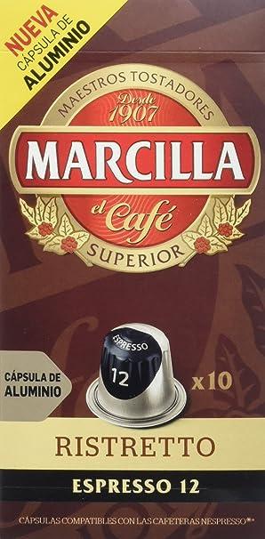Marcilla Café Espresso Ristretto, Intensidad 12, Cápsulas de ...